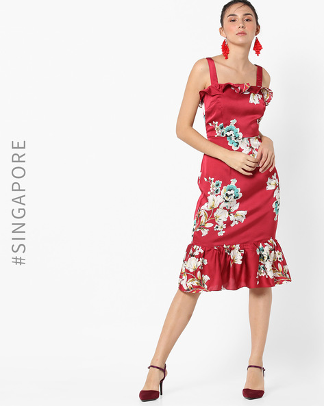 Floral Print Strappy Dress By MDS ( Red )
