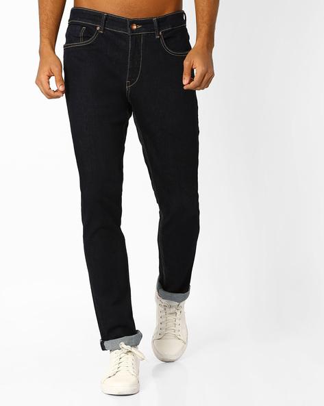 Slim Tapered Fit Jeans By AJIO ( Darkblue )