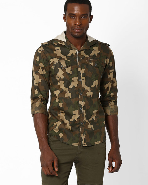 Camouflage Print Slim Shirt With Hood By DNM X ( Olive )