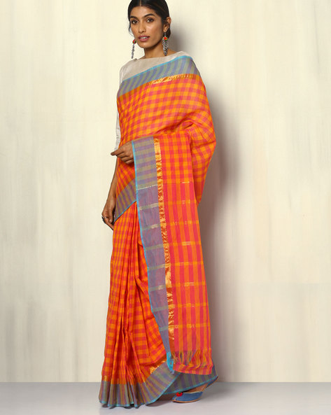 South Cotton Checked Saree With Zari Border By Indie Picks ( Peach )