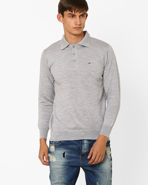 T-shirt With Ribbed Hems By MONTE CARLO ( Grey )