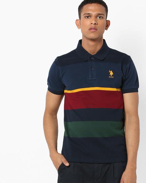 Colourblock Polo T-shirt By US POLO ( Navy )