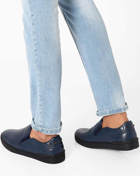 Slip-Ons With Cutouts By Muddman ( Navy )