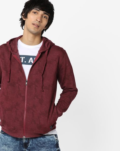 Camouflage Print Hoodie With Drawstring By Killer ( Maroon )
