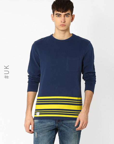 Crew-Neck T-shirt With Patch Pocket By Native Youth ( Navy )
