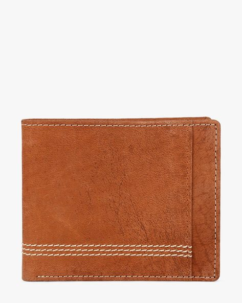 Genuine Leather Wallet With Contrast Stitch Detail By TEAKWOOD LEATHERS ( Brown )