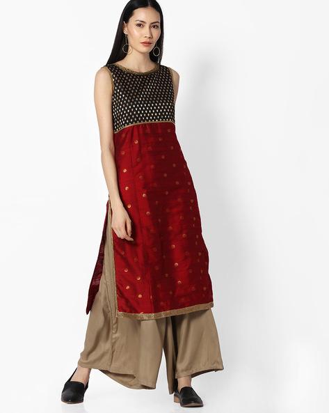 Embellished Kurta With Zari Work By OVI ( Red )