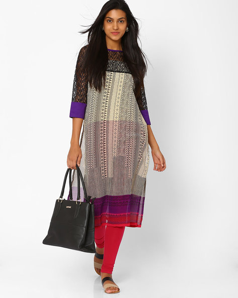 Printed Kurta With Embroidered Net By Libas ( Black )