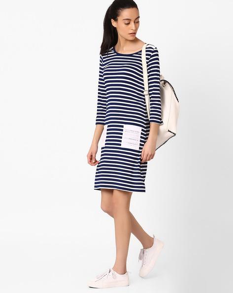 Striped Dress With Patch Pocket By AJIO ( Navyblue )