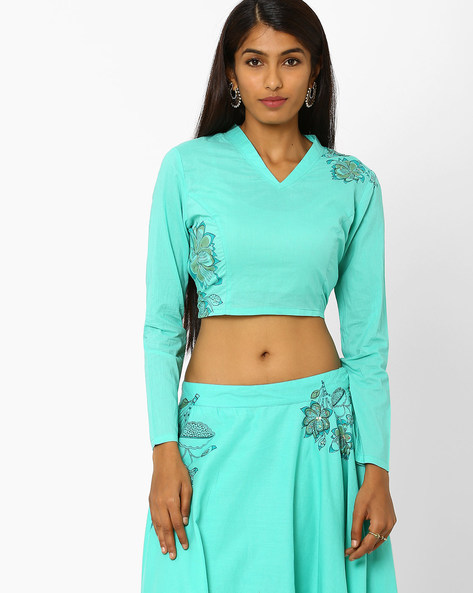 Crop Top With Floral Motifs By AJIO ( Teal )