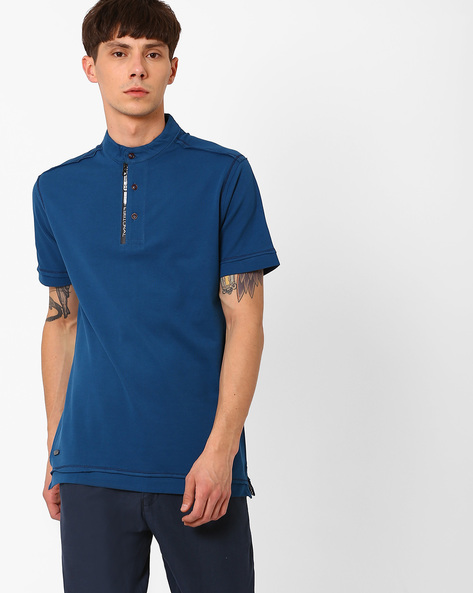 Cotton T-shirt With Band Collar By Fort Collins ( Blue )