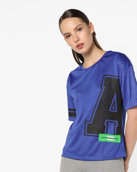 Typographic Print Top With Drop Shoulders By AJIO ( Blue )