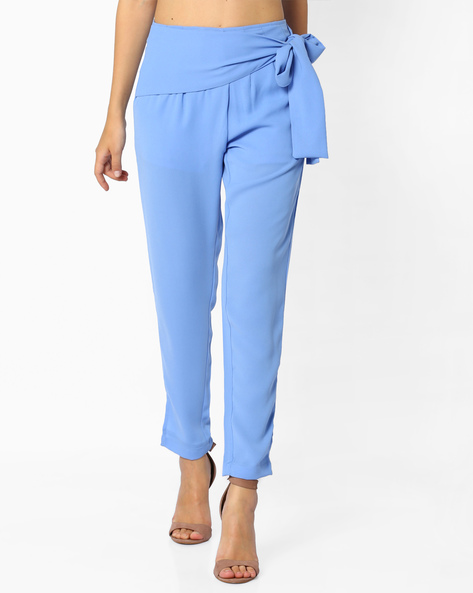 Pleated Trousers With Tie-Up By AJIO ( Lightblue )