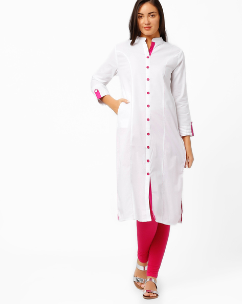 Shirt-Style Kurta With Roll-Up Tabs By Tulsattva ( White )