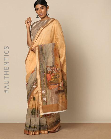 Pure Chanderi Mughal Print Designer Saree By Rudrakaashe-MSU ( Beige )