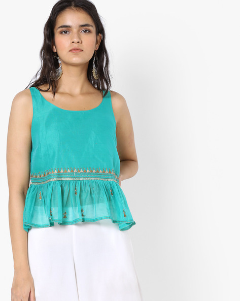 Sleeveless Peplum Top With Embroidery By AJIO ( Teal )