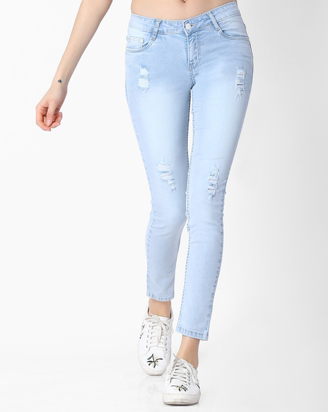 Slim Fit Jeans With Distressing By KRAUS ( Ltblue )
