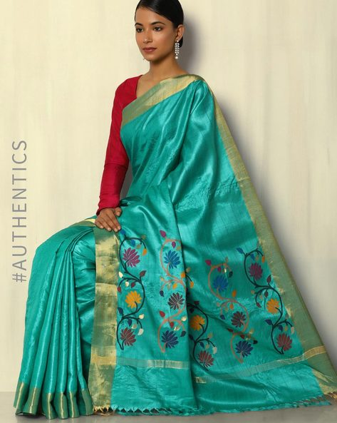 Handloom Pure Silk Tussar Saree With Zari Border By Pretty Woman ( Green )