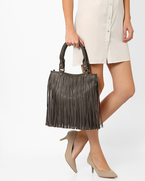Handbag With Fringes By Joker & Witch ( Grey )