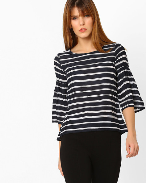 Striped Top With Flared Sleeves By Code ( Navy )