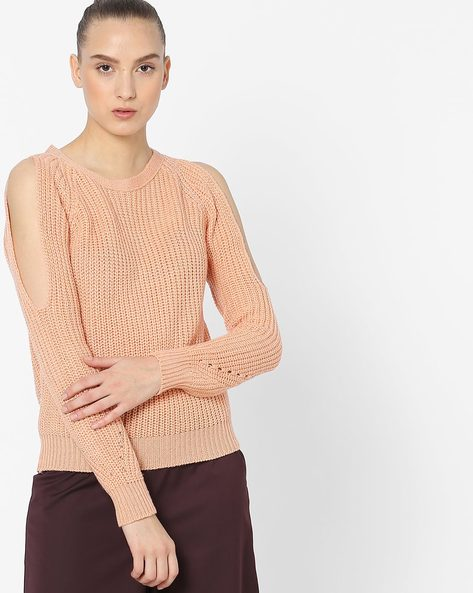 Knitted Pullover With Cold-Shoulder Sleeves By Ginger By Lifestyle ( Peach )