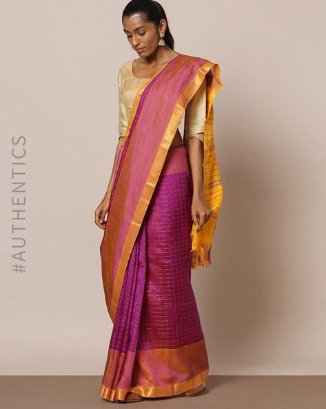 Handloom Pure Silk Cotton Mangalgiri Saree By Indie Picks ( Purple )