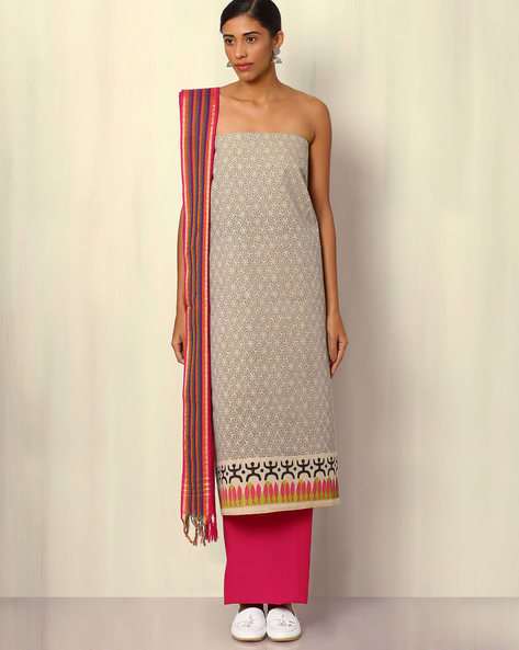 South Cotton Printed Dress Material By Indie Picks ( Grey )