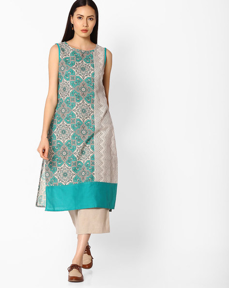 Straight Kurta With Printed Panels By AVAASA MIX N' MATCH ( Teal )