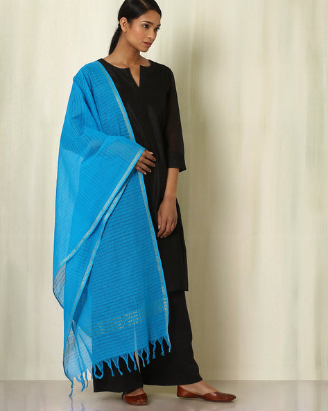 South Cotton Woven Dupatta By Indie Picks ( Blue ) - 460047152001