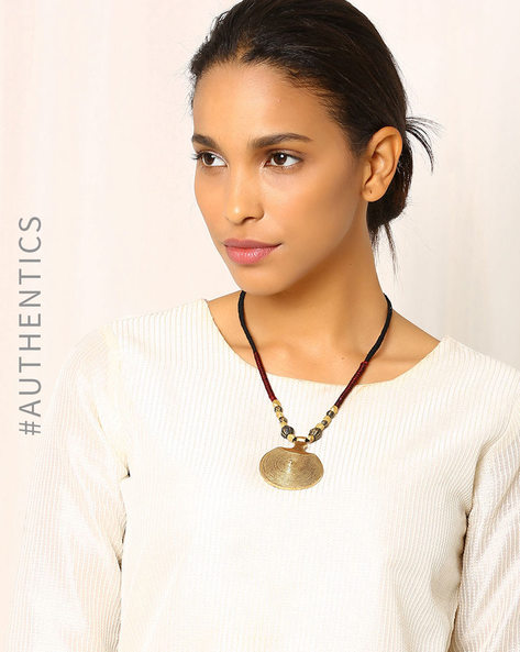 Handcrafted Dhokra Brass Necklace By Indie Picks ( Brown )