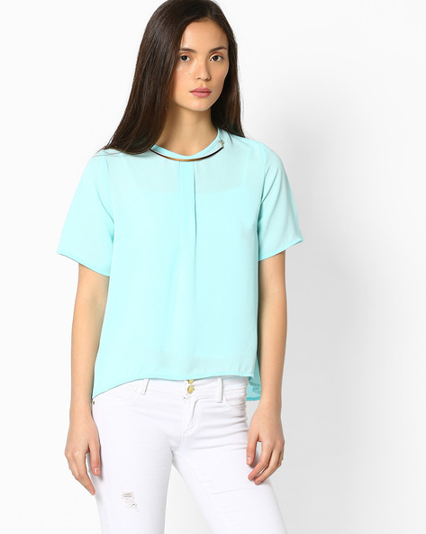 Pleat-Front Top With Detachable Necklace By FIG ( Ltblue )