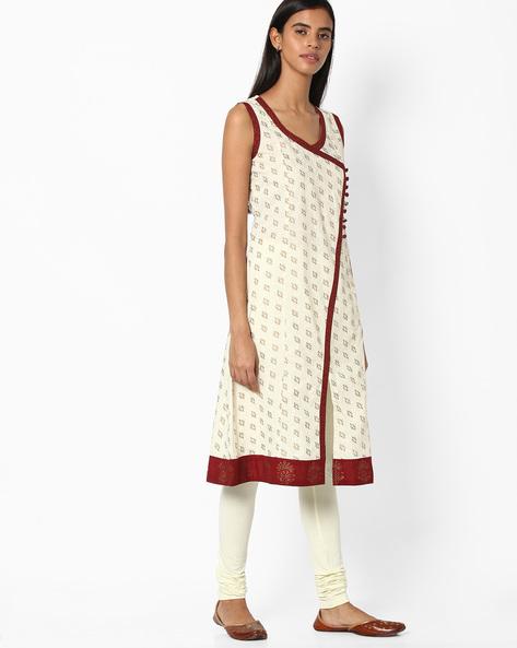 Printed Cotton Kurta By Jiyaa ( White )