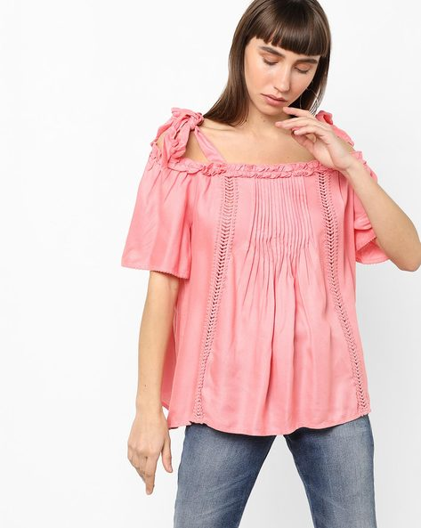 Cold-Shoulder Top With Tie-Up Straps By Vero Moda ( Strawberry )