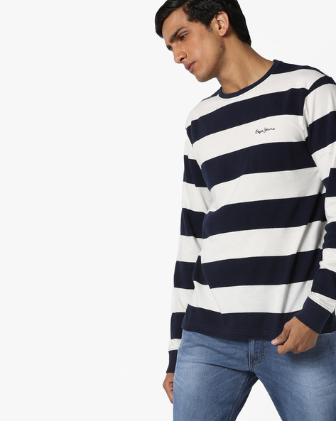 Slim Fit Striped T-shirt By Pepe Jeans ( Navy )