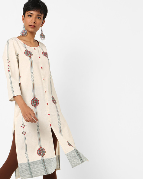 Printed Shirt Kurta With Insert Pockets By Melange By Lifestyle ( Beige )