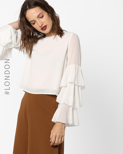 Layered Top With Tiered Bell Sleeves By Glamorous ( White )