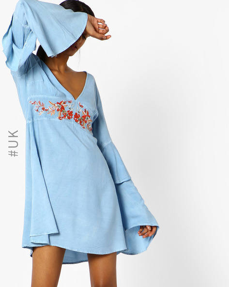 V-Neck Dress With Floral Embroidery By NEON ROSE ( Blue )