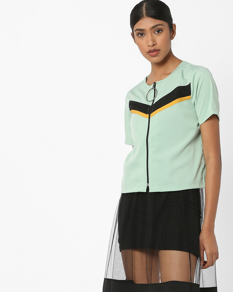 Zip-Front Top With Contrast Panels By AJIO ( Lightgreen )