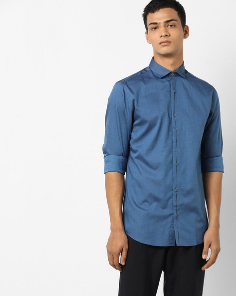 Shirt With Self Design By Jack & Jones ( Turqouise )