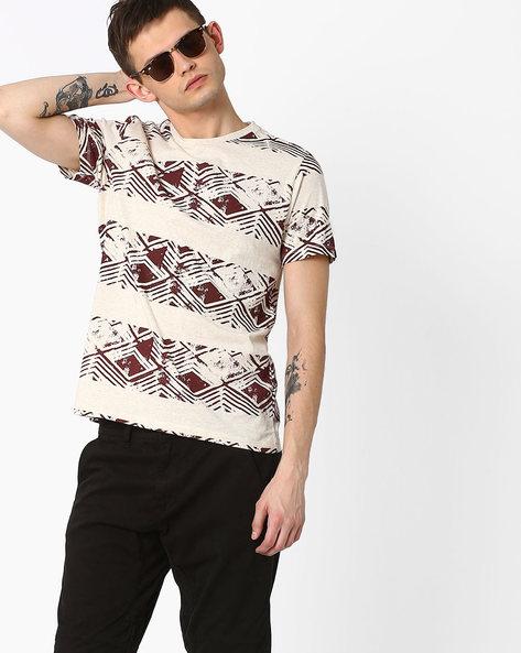 Graphic Print Slim T-shirt By AJIO ( Beige )