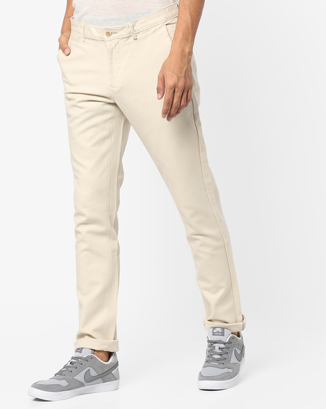 Tapered Fit Stretch Trousers By BASICS ( Ecru )
