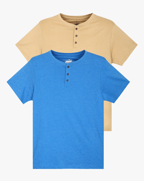 Pack Of 2 Henley T-shirts By AJIO ( Assorted ) - 460043958001