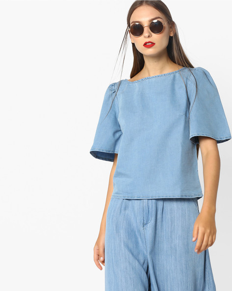 Boxy Top With Short Flared Sleeves By AJIO ( Lightblue )