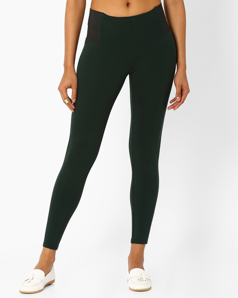 High-Rise Leggings With Elasticated Waistband By Only ( Green )