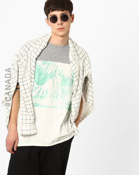 Printed Burnout T-shirt With Striped Yoke By Point Zero ( Aloe )