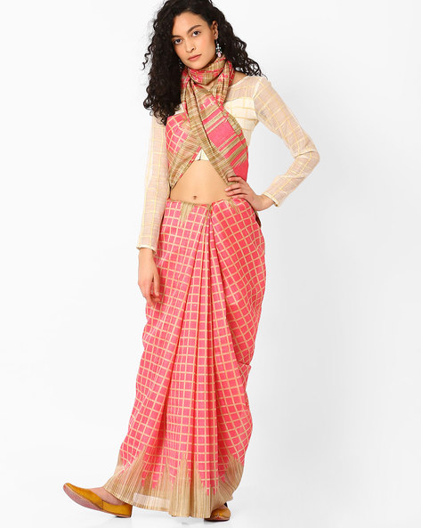 Checked Saree With Contrast Border By Hitansh ( Pink )