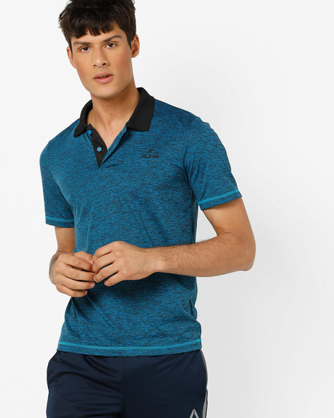 Heathered Polo T-shirt With Contrast Collar By ALCIS ( Blue )