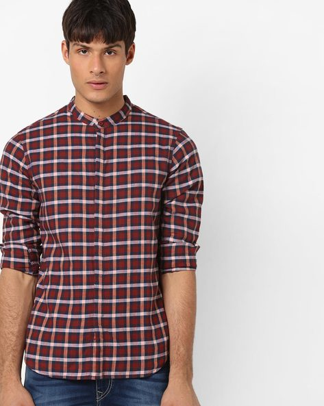 Checked Cotton Shirt With Band Collar By AJIO ( Black )