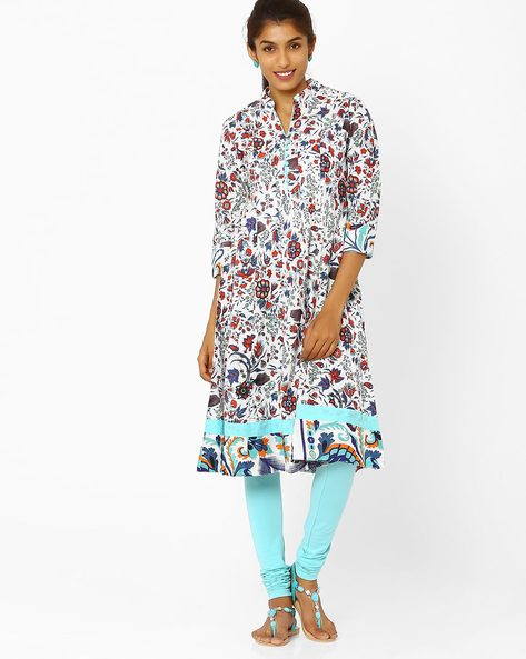 Flared Kurta With Floral Print By AJIO ( Offwhite ) - 460008206012