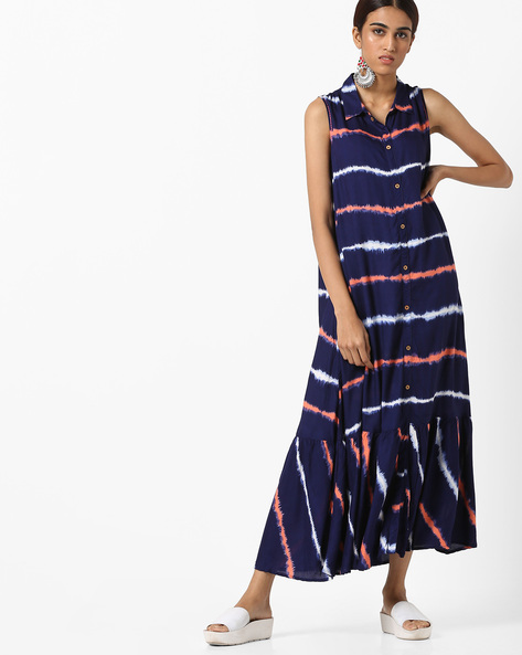 Tiered Maxi Dress With Shirt Collar By AJIO ( Navy )